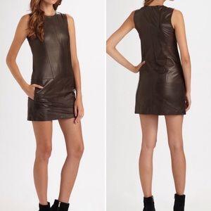 Vince Lambskin Shift Mini Dress Pockets Sz 4